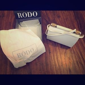 RODO Italy White Leather Clutch Purse Bag Authenti